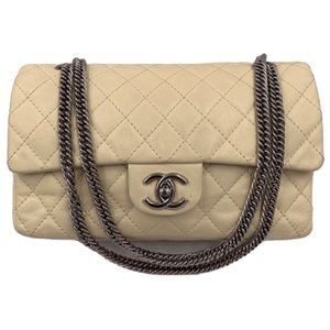 Authentic Chanel Beige Calfskin Flap Shoulder Bag